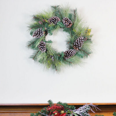 "28"" Mixed Long Needle Pine and Pine Cone Artificial Christmas Wreath - Unlit"""