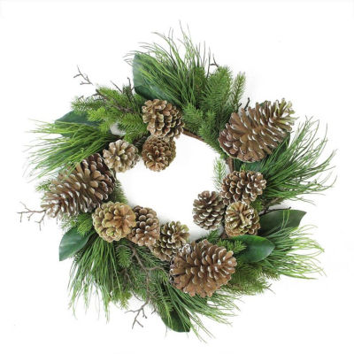 """28"""" Monalisa Mixed Pine with Large Pine Cones andFoliage Christmas Wreath - Unlit"""""""