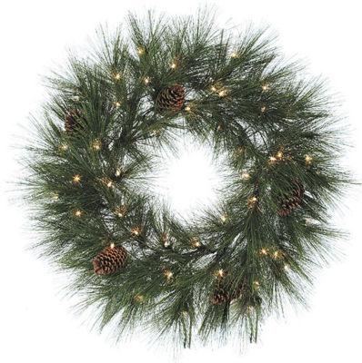 "30"" Pre-Lit Long Needle Weeping Jackson Pine Christmas Wreath - Clear Lights"""