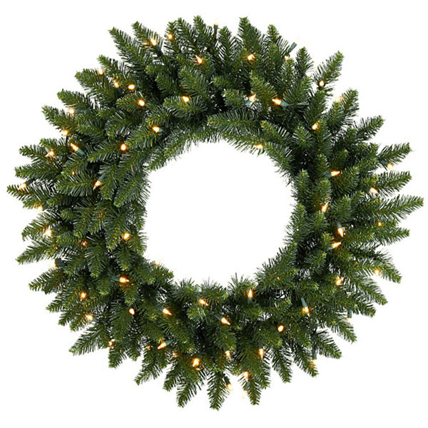 "48"" Pre-Lit Eastern Pine Artificial Christmas Wreath - Clear Lights"""