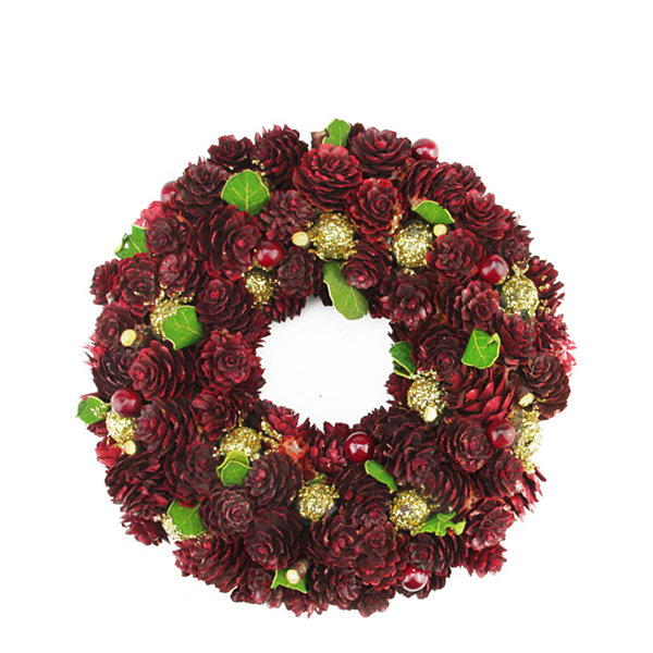 "9.5"" Wine Burgundy and Gold Glitter Pine Cone Artificial Christmas Wreath - Unlit"""