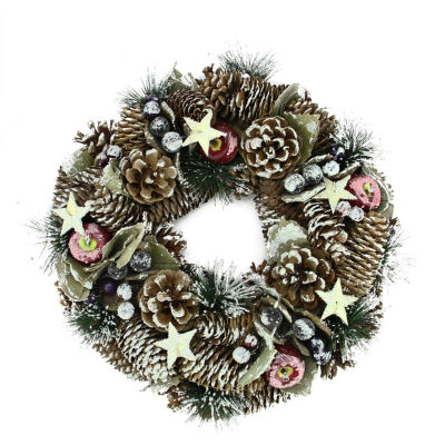 "10.5"" Decorative Frosted Berries  Fruit and Pine Cone Artificial Christmas Wreath - Unlit"""
