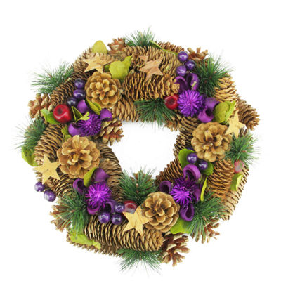 "13"" Decorative Brown and Purple Pine Cone and Berry Artificial Christmas Wreath - Unlit"""