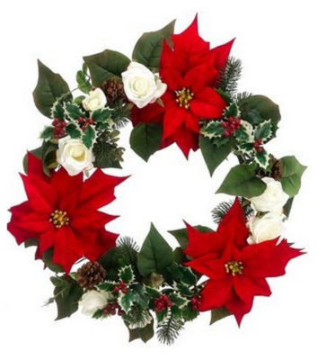 """22"""" Red Poinsettia and White Rose Artificial Christmas Wreath - Unlit"""""""