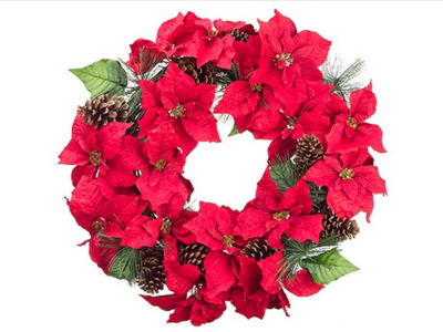 """30"""" Red Poinsettia Blooms and Pine Cone ArtificialFloral Christmas Wreath - Unlit"""""""