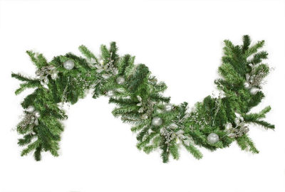 """6' x 12"""" Pre-Decorated Silver Holly Berry  Apple and Twig Artificial Christmas Garland - Unlit"""""""