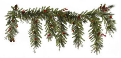 """6.5' x 35"""" Red Berry and Ball Ornament Mixed PineArtificial Christmas Garland - Unlit"""""""