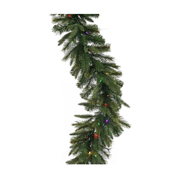 "9' x 14"" Pre-Lit Mixed Cashmere Pine Artificial Christmas Garland - Multi-Color Dura Lights"""