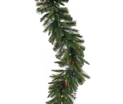 """9' x 14"""" Pre-Lit Mixed Cashmere Pine Artificial Christmas Garland - Multi-Color LED Lights"""""""