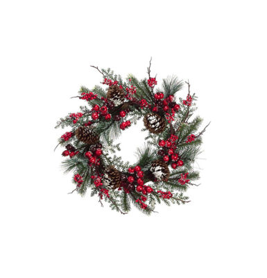 "24"" Iced Cranberry  Red Berry and Pine Cone Artificial Christmas Wreath - Unlit"""