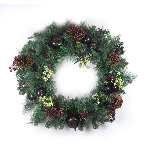 "24"" Pre-Decorated Red Berry  Pine Cone  Apple Artificial Christmas Wreath -Unlit"""