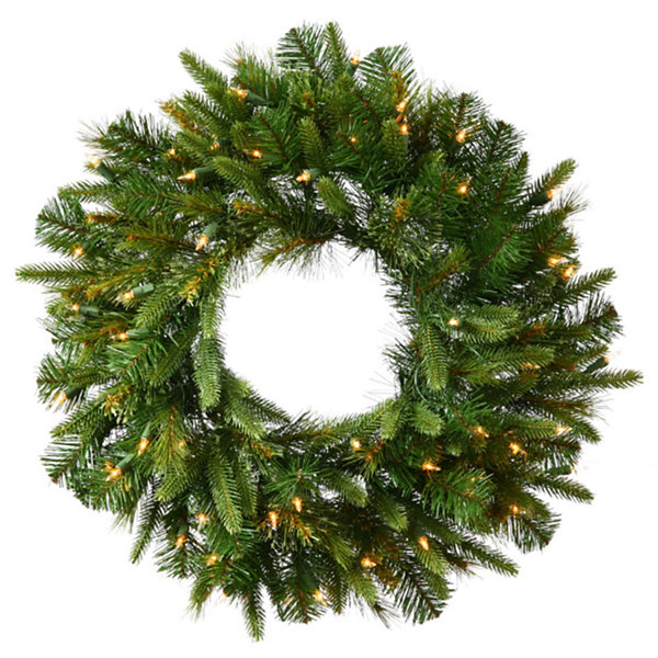 "24"" Pre-Lit Mixed Cashmere Pine Artificial Christmas Wreath -  Warm Clear LED Lights"""