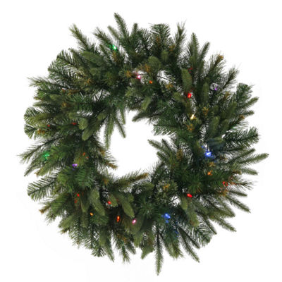 "24"" Pre-Lit Mixed Cashmere Pine Artificial Christmas Wreath - Mult-Color LED Lights"""