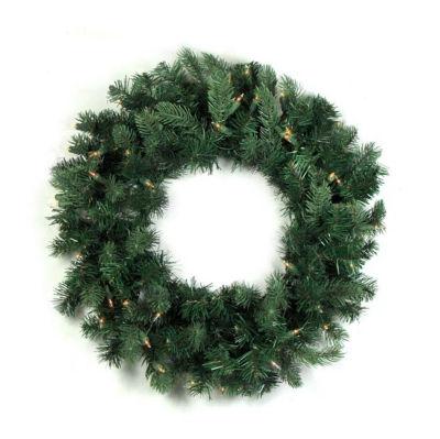 """24"""" Pre-lit Natural Frasier Fir Artificial Christmas Wreath - Clear Lights"""""""