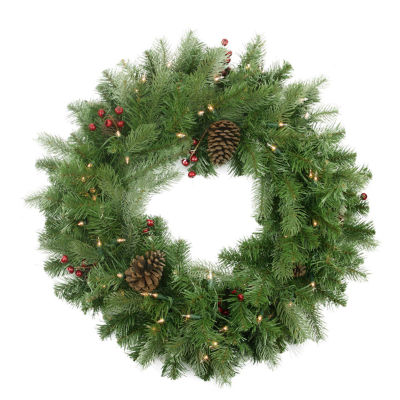 """24"""" Pre-lit Noble Fir with Red Berries and Pine Cones Artificial Christmas Wreath - Clear Lights"""""""