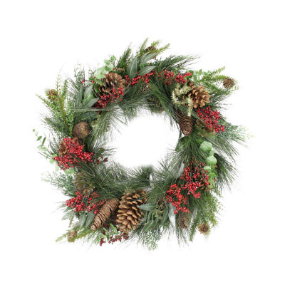 "24"" Red Berry  Pine Cone and Eucalyptus Leaf LongNeedle Pine Artificial Christmas Wreath - Unlit"""