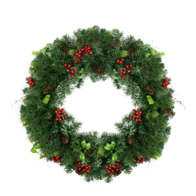 "29"" Mixed Pine with Red Berries and Pine Cones Artificial Christmas Wreath - Unlit"""