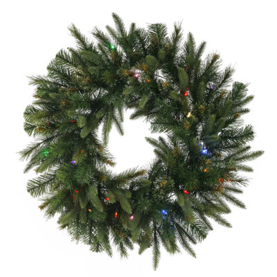 "30"" Pre-Lit Battery Operated Mixed Pine Cashmere Christmas Wreath - Multi Lights"""