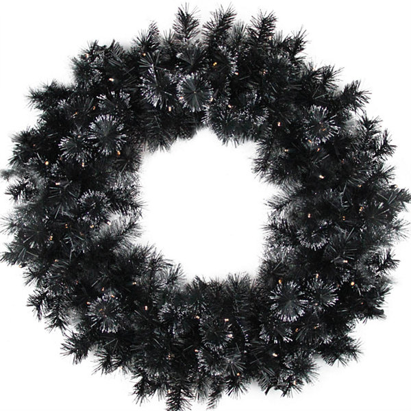 "36"" Battery Operated Black Bristle Artificial Christmas Wreath - Warm White LED Lights"""