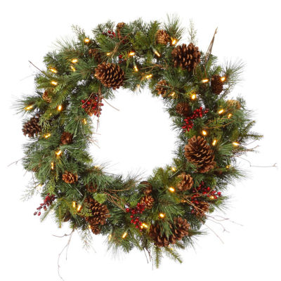 "36"" Pre-lit Cibola Mix Berry Pine Artificial Christmas Wreath - Warm Clear LED Lights"""