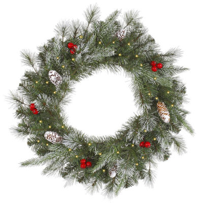 """36"""" Pre-Lit Frosted Pine Berry Artificial Christmas Wreath - Clear Lights"""""""