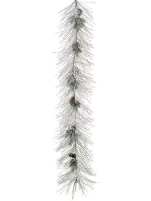 6' Flocked Long Needle Pine & Pine Cone ArtificialChristmas Garland - Unlit