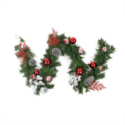 6' Pre-Decorated Red and Silver Holly  Ball  Cedarand Pine Cone Artificial Christmas Garland - Unlit
