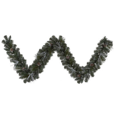 "9' x 10"" Pre-Lit Frosted and Glittered Pine Christmas Garland - Clear Lights"""
