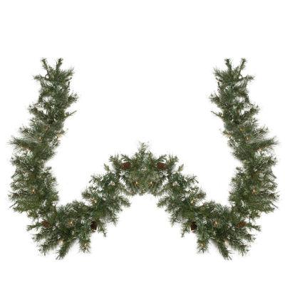 "9' x 10"" Pre-lit Snow Mountain Pine Artificial Christmas Garland - Clear Lights"""