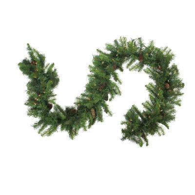 "9' x 12"" Pre-Lit Dakota Red Pine Artificial Christmas Garland - Clear Dura Lights"""