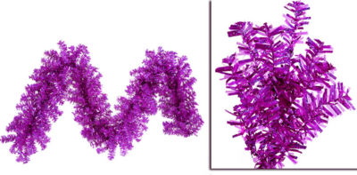 "9' x 14"" Pre-Lit Fuschia Wide Cut Laser Tinsel Christmas Garland - Pink Lights"""