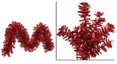 """9' x 14"""" Pre-Lit Red Wide Cut Laser Tinsel Christmas Garland - Red Lights"""""""