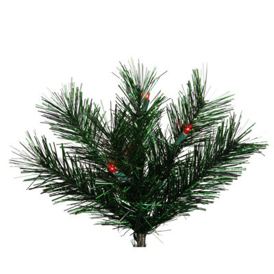 "9' x 16"" Pre-lit Midnight Green Pine Christmas Tinsel Garland - Red Dura Lights"""
