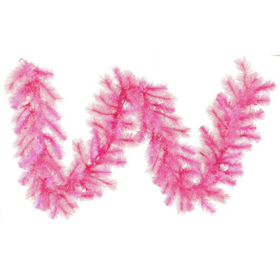"""9' x 16"""" Pre-Lit Pink Cashmere Artificial Christmas Garland - Clear Lights"""""""