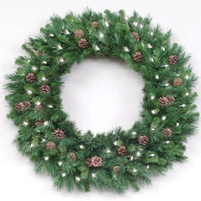 10' Pre-Lit Cheyenne Pine Commercial Christmas Wreath - Clear Dura Lights