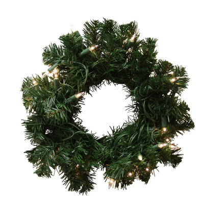 """10"""" Pre-Lit Deluxe Windsor Pine Artificial Christmas Wreath - Clear Lights"""""""