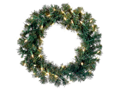 """18"""" Pre-Lit Deluxe Windsor Pine Artificial Christmas Wreath - Clear Lights"""""""