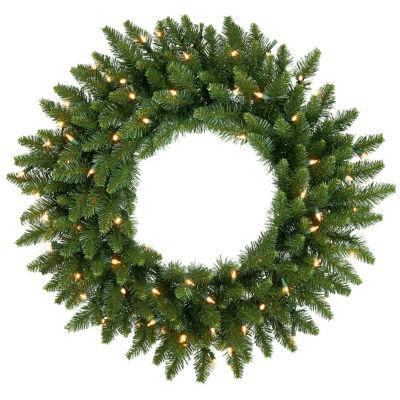 """20"""" Pre-Lit Camdon Fir Artificial Christmas Wreath- Clear Dura Lit Lights"""""""