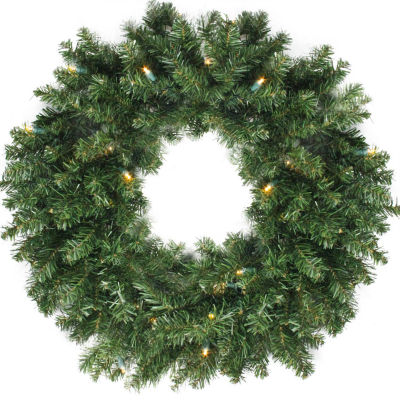 "24"" B/O Canadian Pine Artificial Christmas Wreath- Warm Clear LED Lights"""