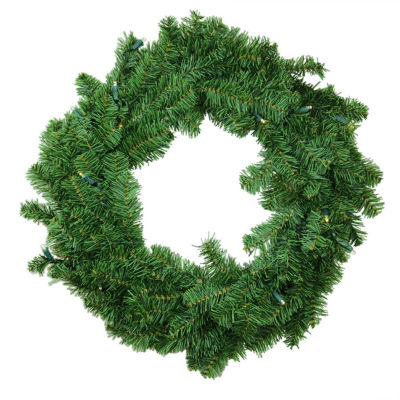 "24"" Battery Operated Canadian Pine Artificial Christmas Wreath -Clear LED Lights"""