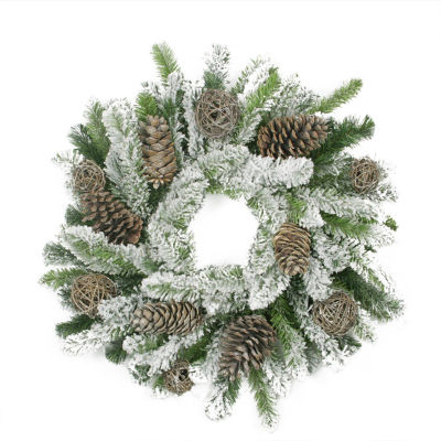"""24"""" Flocked Pine Cone and Twig Ball Artificial Christmas Wreath - Unlit"""""""