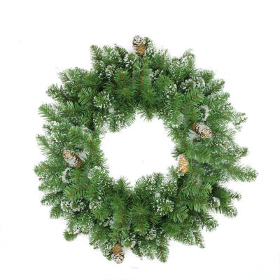 "24"" Frosted Mixed Pine and Pine Cone Artificial Christmas Wreath - Unlit"