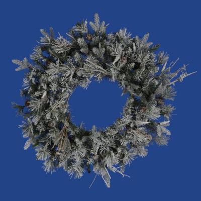 """24"""" Frosted Wistler Fir Artificial Christmas Wreath - Unlit"""""""