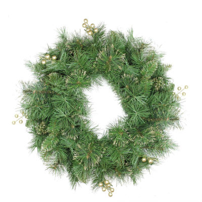 """24"""" Mixed Pine and Glittered Berry Artificial Christmas Wreath - Unlit"""""""