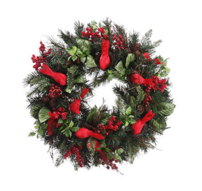 "24"" Pre-Decorated Cardinal  Berry  Pine Cone Artificial Christmas Wreath - Unlit"