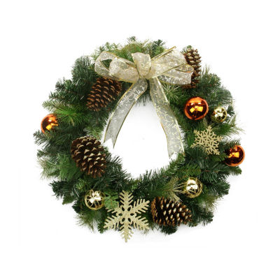 "24"" Pre-Decorated Copper and Gold Ball Ornaments and Bow Artificial Christmas Wreath - Unlit"""