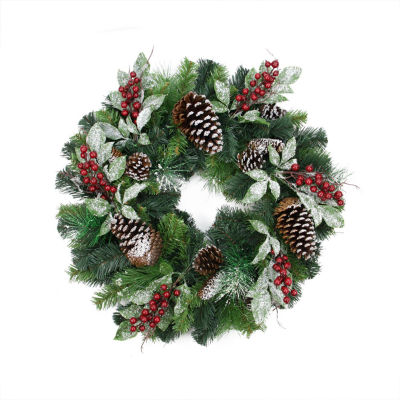 """24"""" Pre-Decorated Frosted Pine Cone and Red BerryArtificial Christmas Wreath - Unlit"""""""