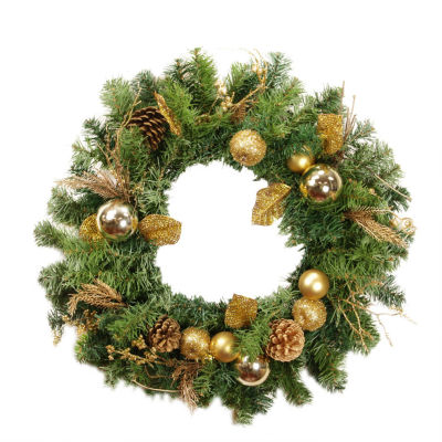 """24"""" Pre-Decorated Gold Pine Cone Apple and Ball Ornament Artificial Christmas Wreath - Unlit"""