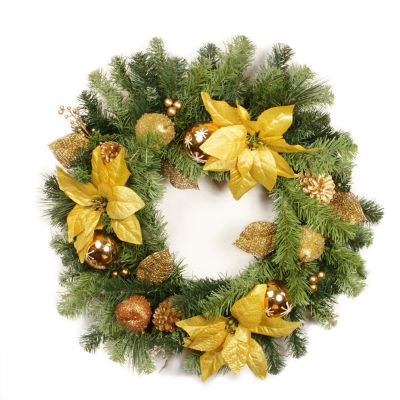 """24"""" Pre-Decorated Gold Poinsettia Apple and Berry Artificial Christmas Wreath - Unlit"""