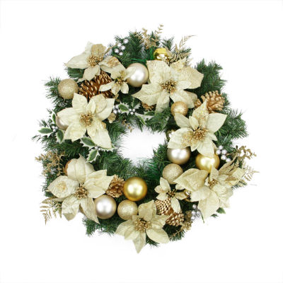 """24"""" Pre-Decorated Gold Poinsettia  Pine Cone and Ball Artificial Christmas Wreath - Unlit"""""""